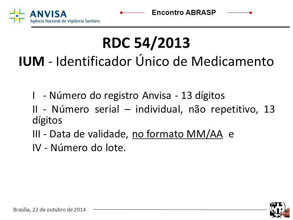 Brasília, 22 de outubro de 2014 Encontro ABRASP RDC 54/2013 IUM - Identificador Único de Medicamento I - Número do registro Anvisa - 13 dígitos II - N