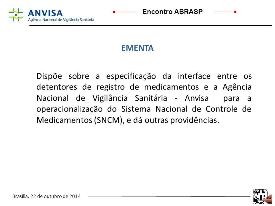 Brasília, 22 de outubro de 2014 Encontro ABRASP Dispõe sobre a especificação da interface entre os detentores de registro de medicamentos e a Agência