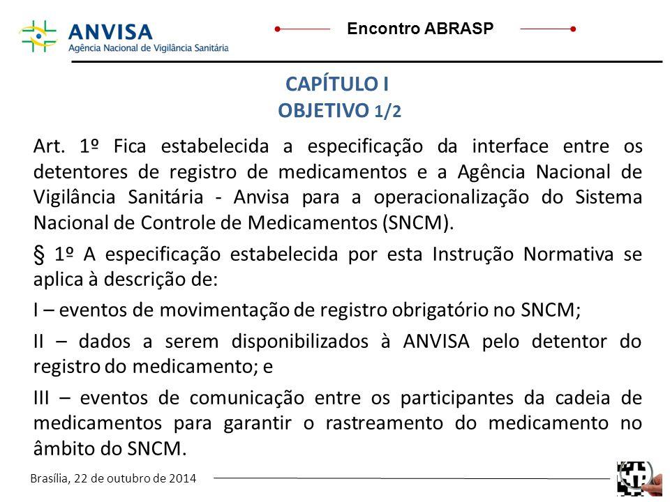 Brasília, 22 de outubro de 2014 Encontro ABRASP Art. 1º Fica estabelecida a especificação da interface entre os detentores de registro de medicamentos