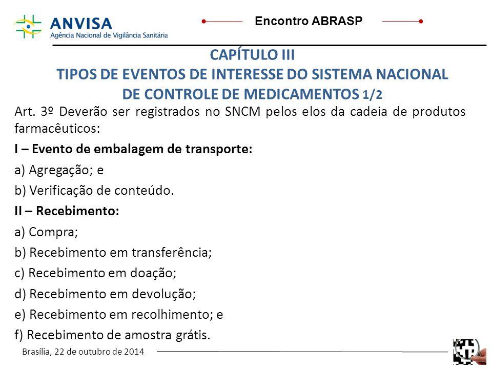 Brasília, 22 de outubro de 2014 Encontro ABRASP Art. 3º Deverão ser registrados no SNCM pelos elos da cadeia de produtos farmacêuticos: I – Evento de