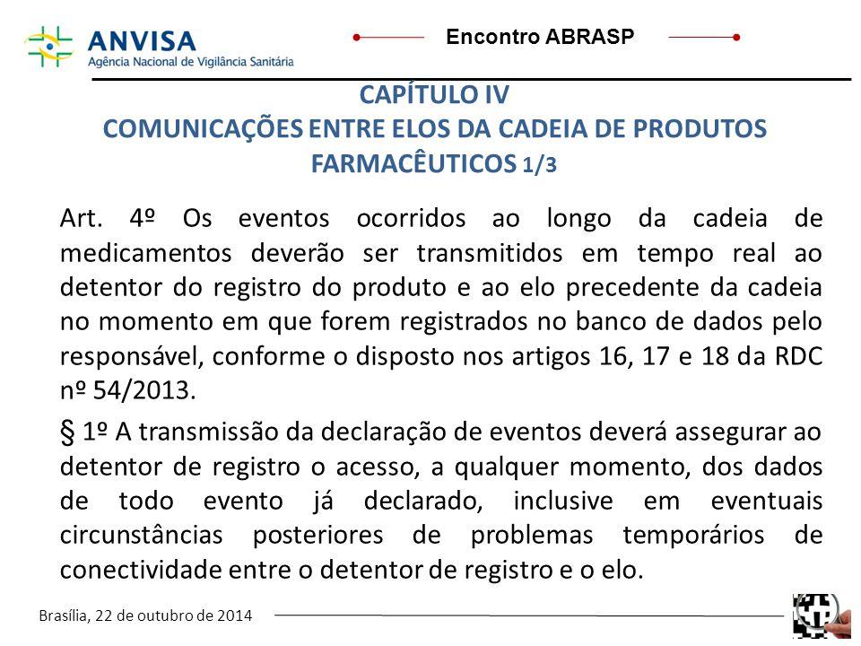 Brasília, 22 de outubro de 2014 Encontro ABRASP Art. 4º Os eventos ocorridos ao longo da cadeia de medicamentos deverão ser transmitidos em tempo real