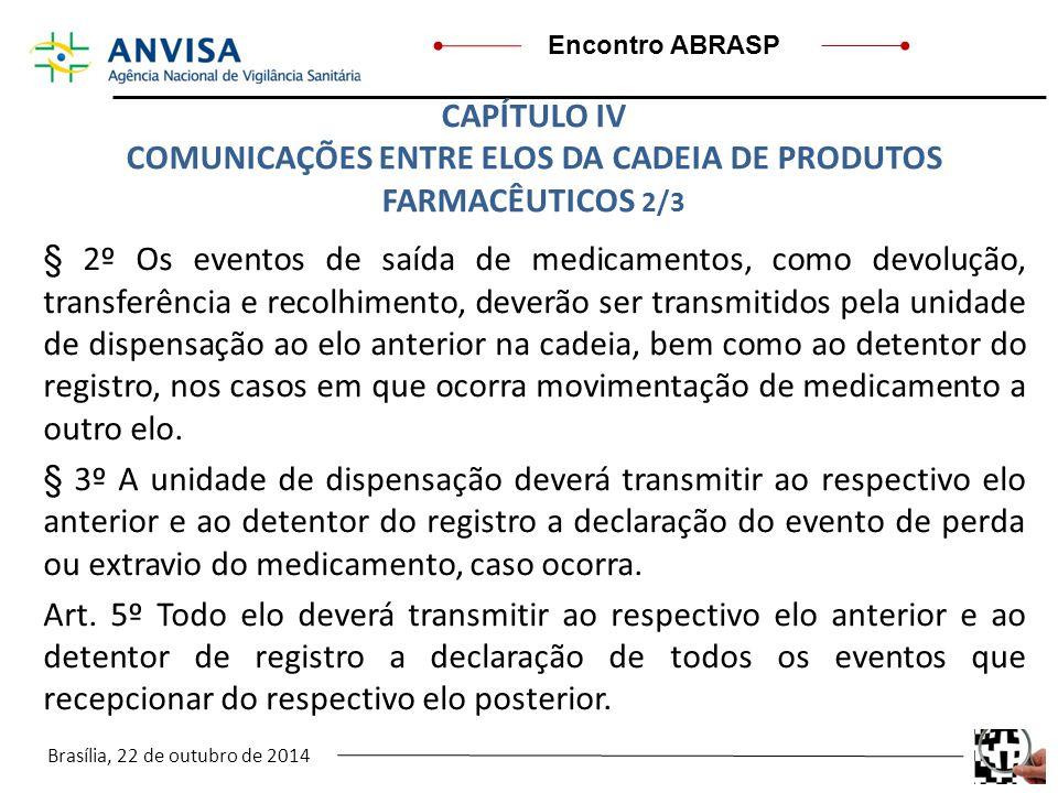 Brasília, 22 de outubro de 2014 Encontro ABRASP § 2º Os eventos de saída de medicamentos, como devolução, transferência e recolhimento, deverão ser tr