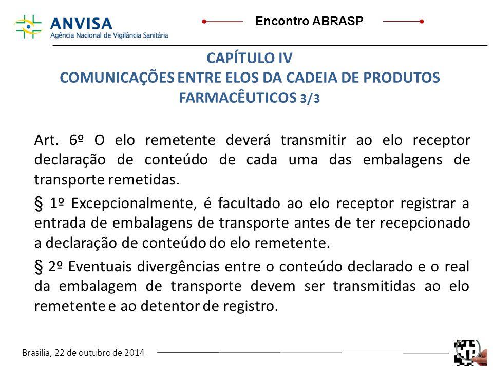 Brasília, 22 de outubro de 2014 Encontro ABRASP Art. 6º O elo remetente deverá transmitir ao elo receptor declaração de conteúdo de cada uma das embal