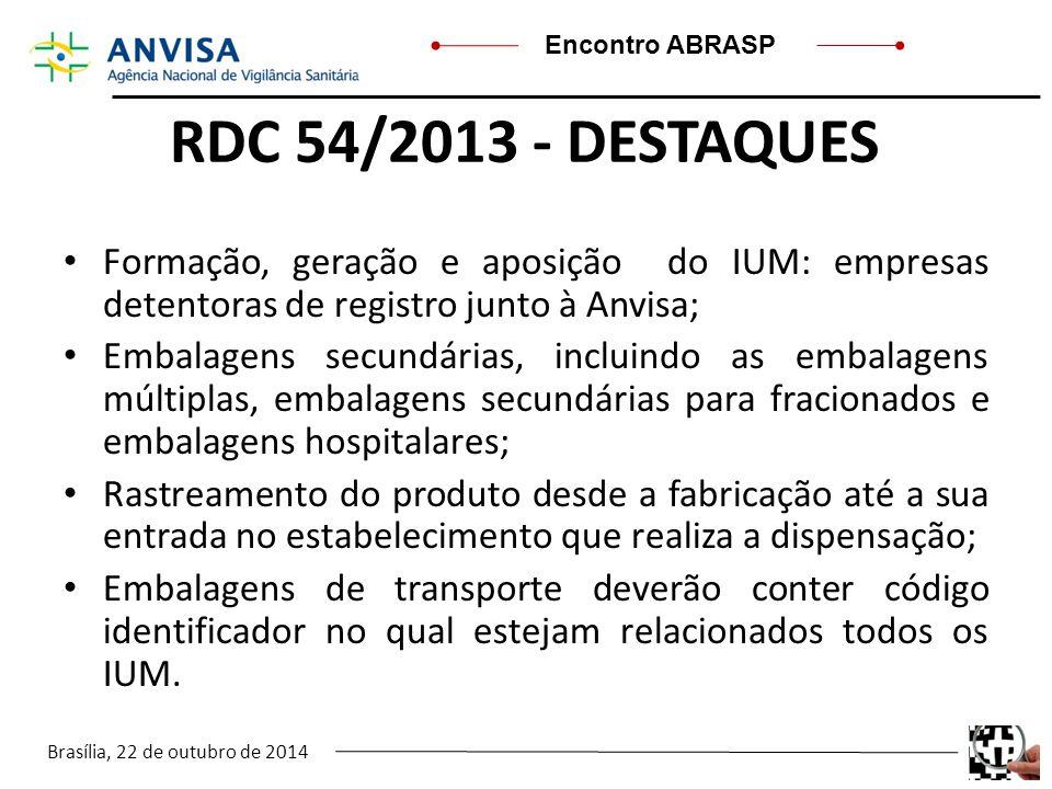 Brasília, 22 de outubro de 2014 Encontro ABRASP RDC 54/2013 - DESTAQUES Formação, geração e aposição do IUM: empresas detentoras de registro junto à A