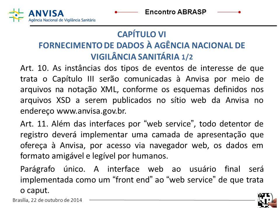 Brasília, 22 de outubro de 2014 Encontro ABRASP Art. 10. As instâncias dos tipos de eventos de interesse de que trata o Capítulo III serão comunicadas