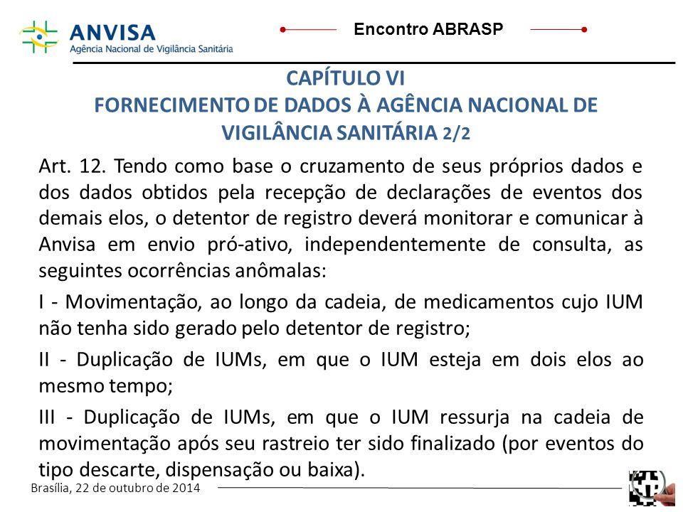 Brasília, 22 de outubro de 2014 Encontro ABRASP Art. 12. Tendo como base o cruzamento de seus próprios dados e dos dados obtidos pela recepção de decl