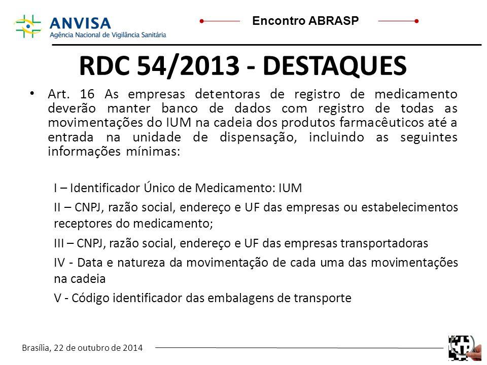 Brasília, 22 de outubro de 2014 Encontro ABRASP RDC 54/2013 - DESTAQUES Art. 16 As empresas detentoras de registro de medicamento deverão manter banco