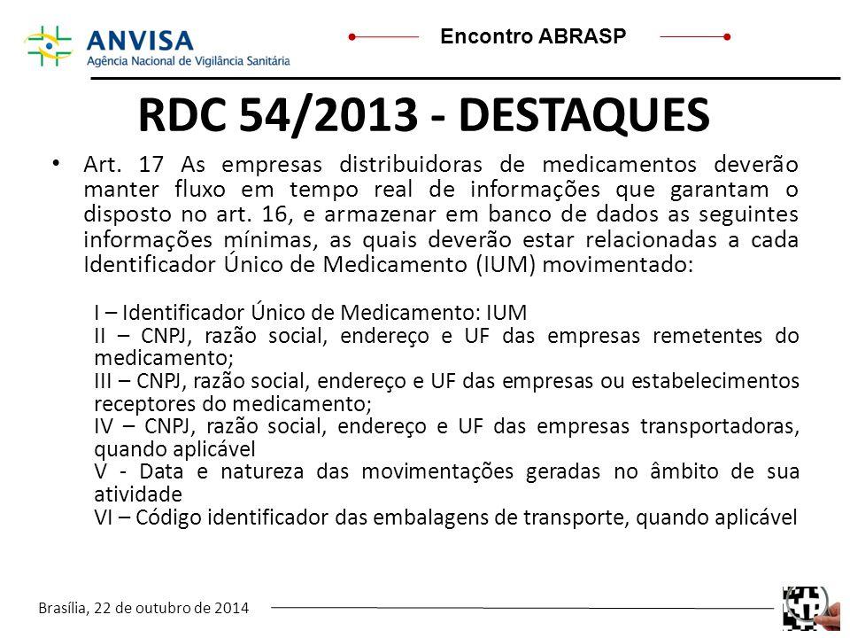 Brasília, 22 de outubro de 2014 Encontro ABRASP RDC 54/2013 - DESTAQUES Art. 17 As empresas distribuidoras de medicamentos deverão manter fluxo em tem