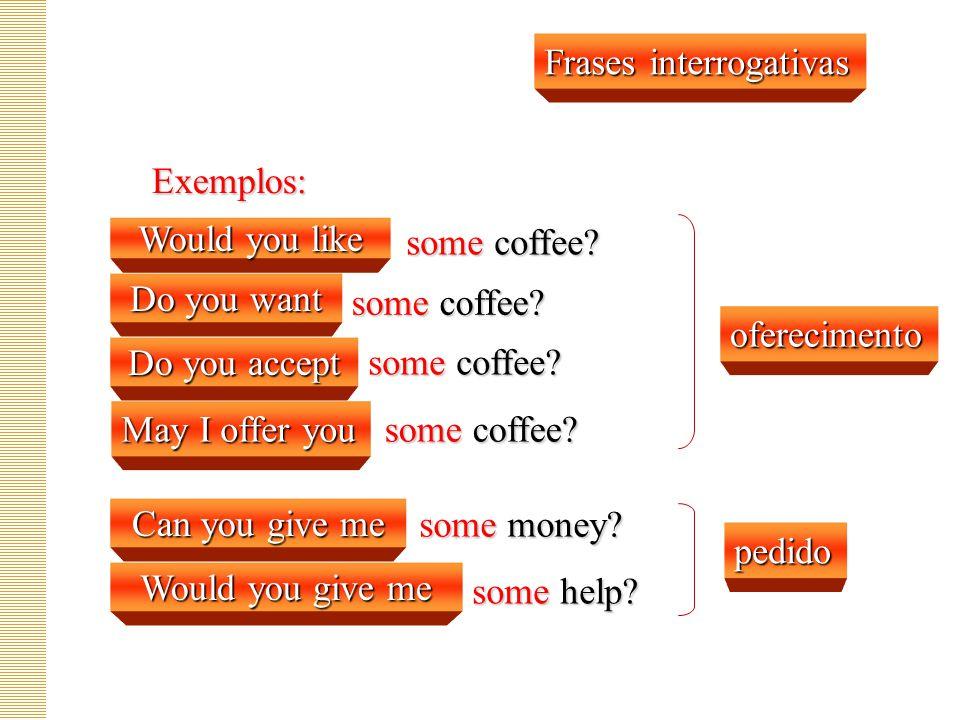 Frases interrogativas Exemplos: some coffee.some coffee.