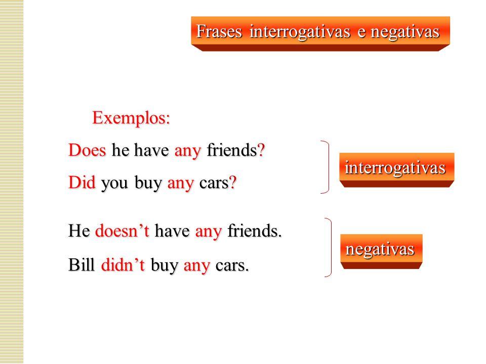 Any algum(s) alguma(s) qualquer interrogativas negativas afirmativas qualquer Any
