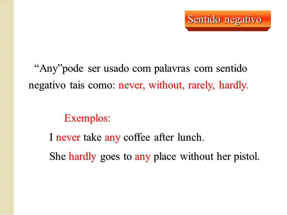 Any pode ser usado com palavras com sentido negativo tais como: never, without, rarely, hardly.