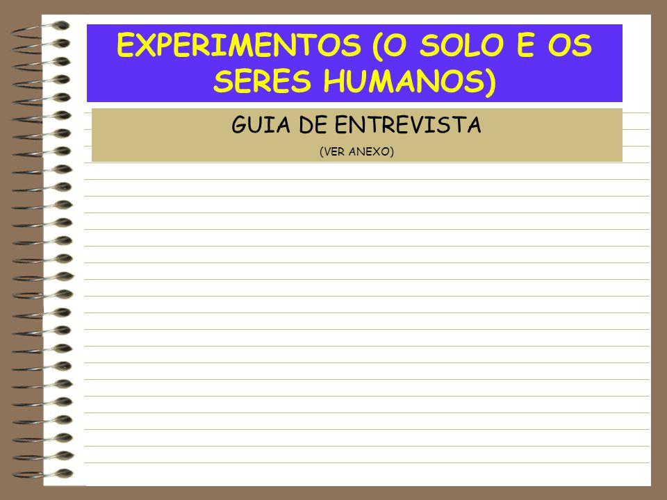 EXPERIMENTOS (O SOLO E OS SERES HUMANOS) GUIA DE ENTREVISTA (VER ANEXO)