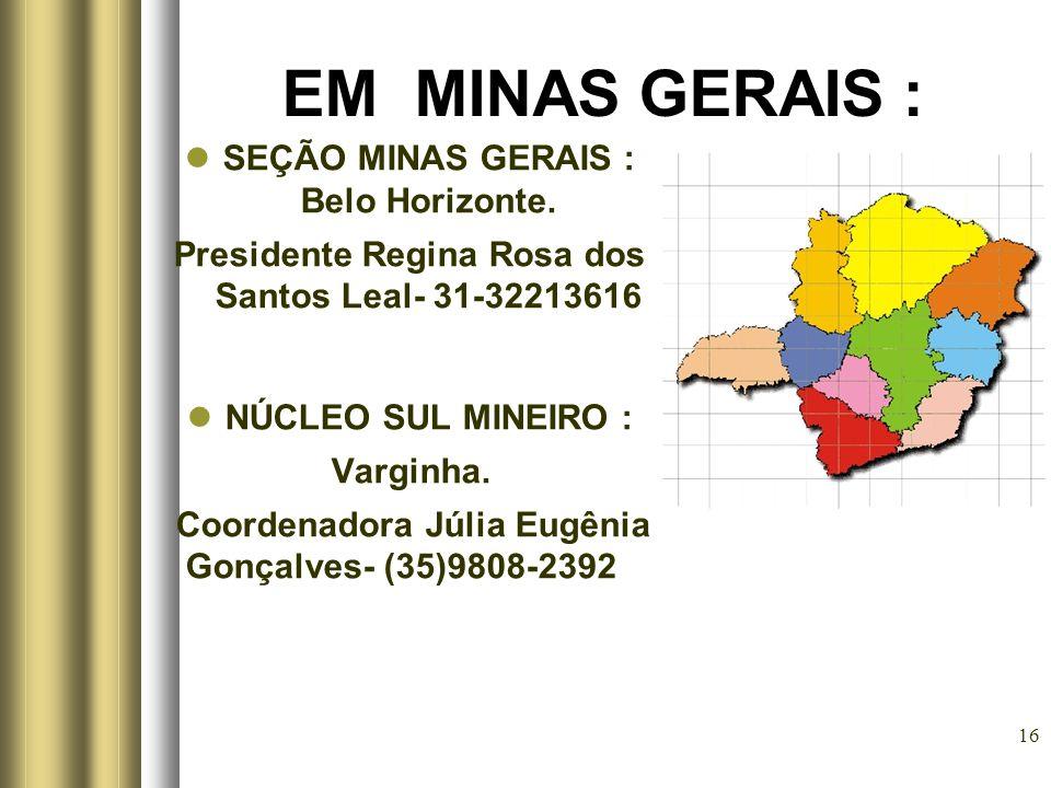 16 EM MINAS GERAIS : SEÇÃO MINAS GERAIS : Belo Horizonte. Presidente Regina Rosa dos Santos Leal- 31-32213616 NÚCLEO SUL MINEIRO : Varginha. Coordenad