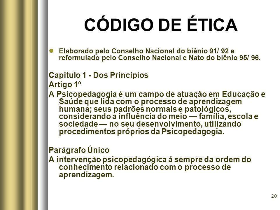 20 CÓDIGO DE ÉTICA Elaborado pelo Conselho Nacional do biênio 91/ 92 e reformulado pelo Conselho Nacional e Nato do biênio 95/ 96. Capitulo 1 - Dos Pr