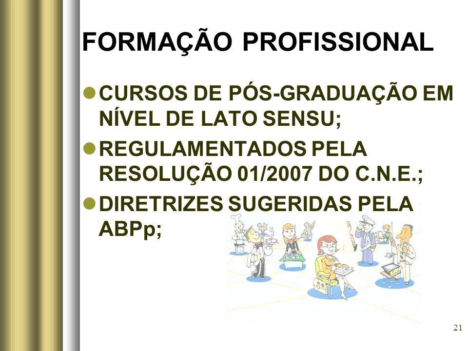 21 FORMAÇÃO PROFISSIONAL CURSOS DE PÓS-GRADUAÇÃO EM NÍVEL DE LATO SENSU; REGULAMENTADOS PELA RESOLUÇÃO 01/2007 DO C.N.E.; DIRETRIZES SUGERIDAS PELA AB