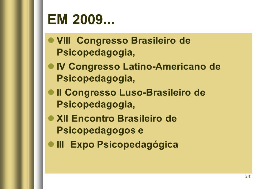 24 VIII Congresso Brasileiro de Psicopedagogia, IV Congresso Latino-Americano de Psicopedagogia, II Congresso Luso-Brasileiro de Psicopedagogia, XII E