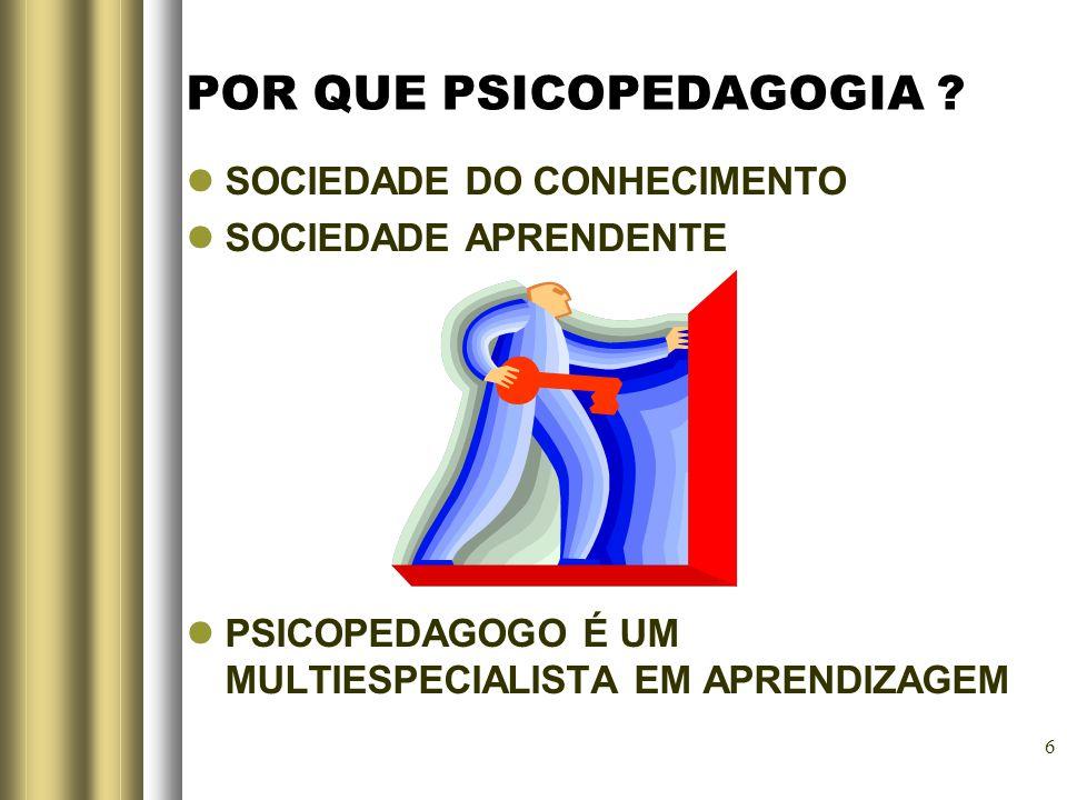 6 POR QUE PSICOPEDAGOGIA ? SOCIEDADE DO CONHECIMENTO SOCIEDADE APRENDENTE PSICOPEDAGOGO É UM MULTIESPECIALISTA EM APRENDIZAGEM
