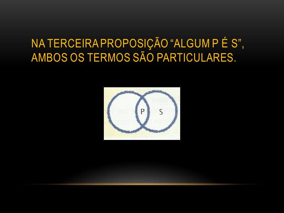 """NA TERCEIRA PROPOSIÇÃO """"ALGUM P É S"""", AMBOS OS TERMOS SÃO PARTICULARES."""