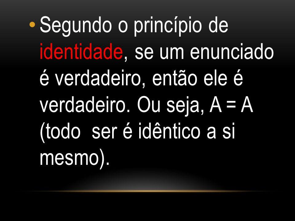 Segundo o princípio de identidade, se um enunciado é verdadeiro, então ele é verdadeiro. Ou seja, A = A (todo ser é idêntico a si mesmo).