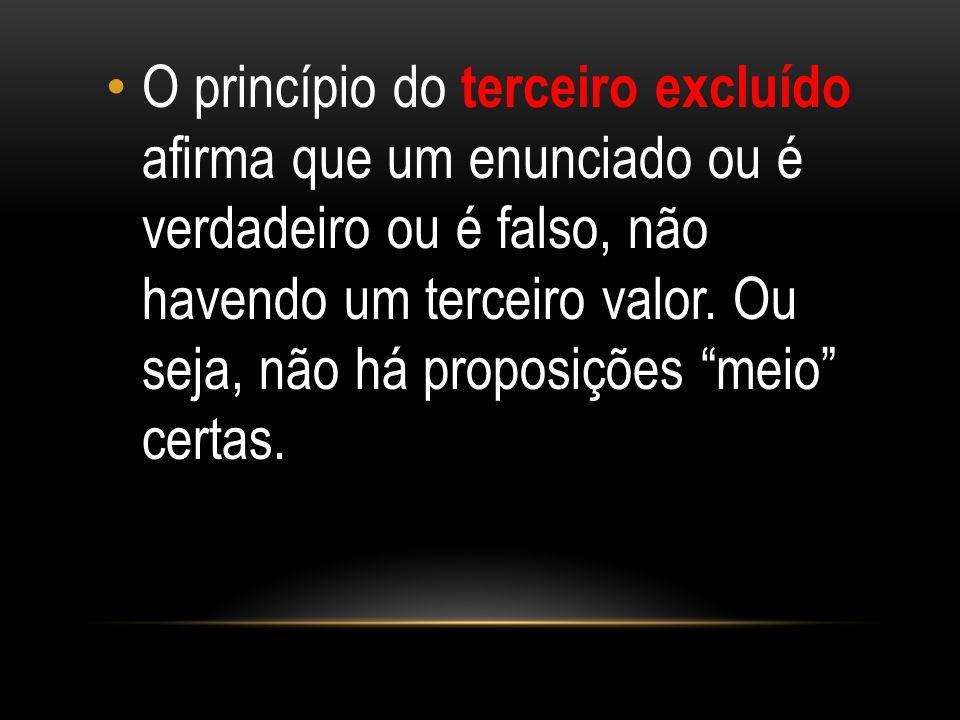 """O princípio do terceiro excluído afirma que um enunciado ou é verdadeiro ou é falso, não havendo um terceiro valor. Ou seja, não há proposições """"meio"""""""