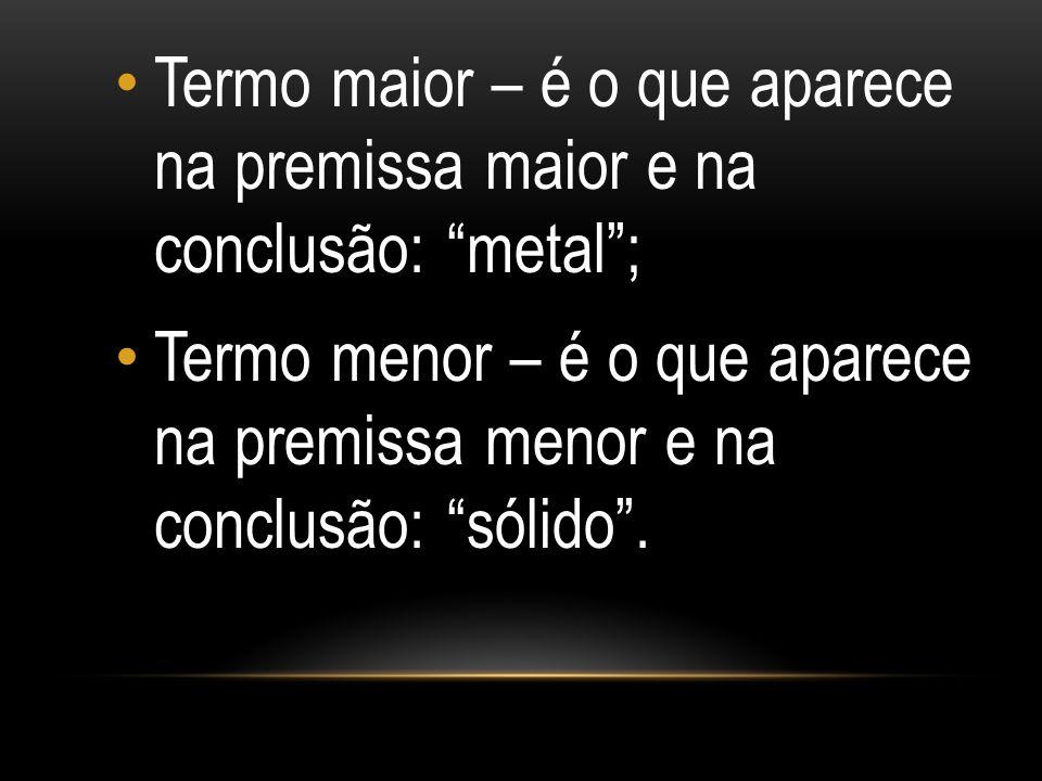 """Termo maior – é o que aparece na premissa maior e na conclusão: """"metal""""; Termo menor – é o que aparece na premissa menor e na conclusão: """"sólido""""."""