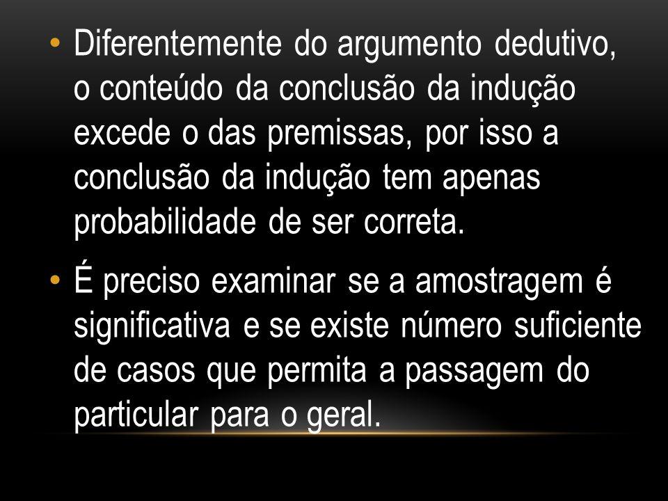Diferentemente do argumento dedutivo, o conteúdo da conclusão da indução excede o das premissas, por isso a conclusão da indução tem apenas probabilid