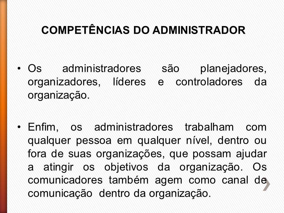 COMPETÊNCIAS DO ADMINISTRADOR Os administradores são planejadores, organizadores, líderes e controladores da organização.