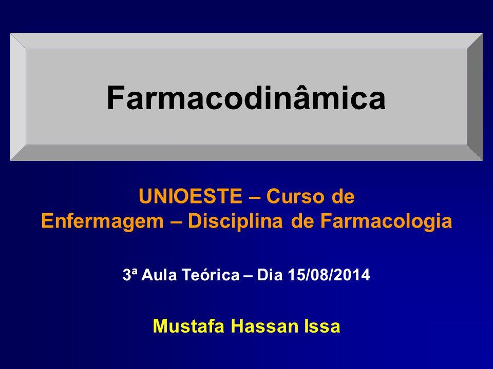 Farmacodinâmica 3ª Aula Teórica – Dia 15/08/2014 Mustafa Hassan Issa UNIOESTE – Curso de Enfermagem – Disciplina de Farmacologia