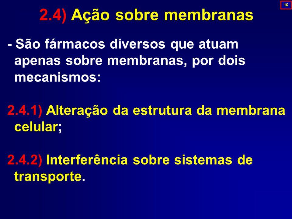 - São fármacos diversos que atuam apenas sobre membranas, por dois mecanismos: 2.4.1) Alteração da estrutura da membrana celular; 2.4.2) Interferência