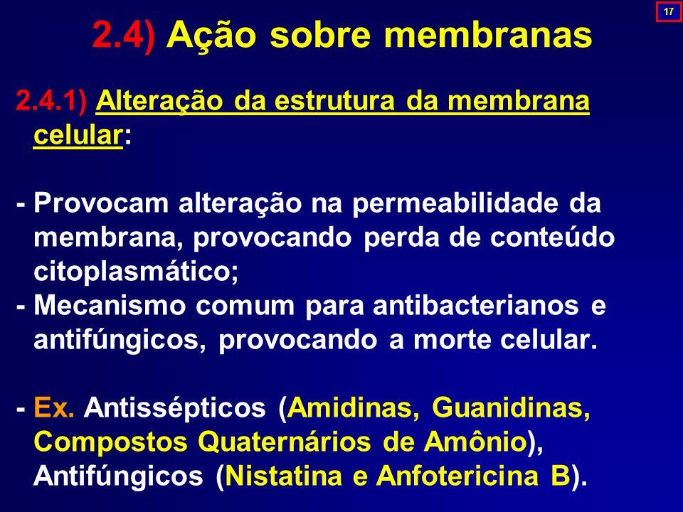 2.4.1) Alteração da estrutura da membrana celular: - Provocam alteração na permeabilidade da membrana, provocando perda de conteúdo citoplasmático; -