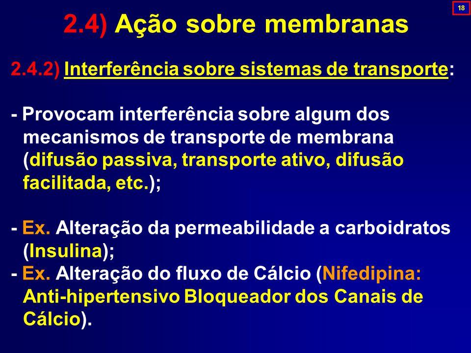 2.4.2) Interferência sobre sistemas de transporte: - Provocam interferência sobre algum dos mecanismos de transporte de membrana (difusão passiva, tra