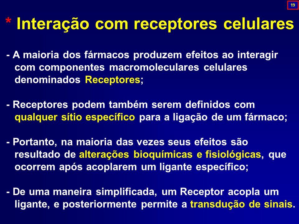 - A maioria dos fármacos produzem efeitos ao interagir com componentes macromoleculares celulares denominados Receptores; - Receptores podem também se