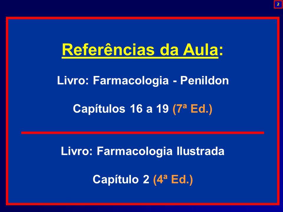 Referências da Aula: Livro: Farmacologia - Penildon Capítulos 16 a 19 (7ª Ed.) Livro: Farmacologia Ilustrada Capítulo 2 (4ª Ed.) 2