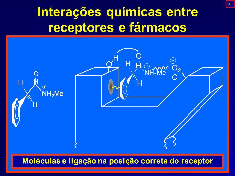 NH 2 Me H H OHOH + O H H H OHOH O2CO2C - + Moléculas e ligação na posição correta do receptor Interações químicas entre receptores e fármacos 27