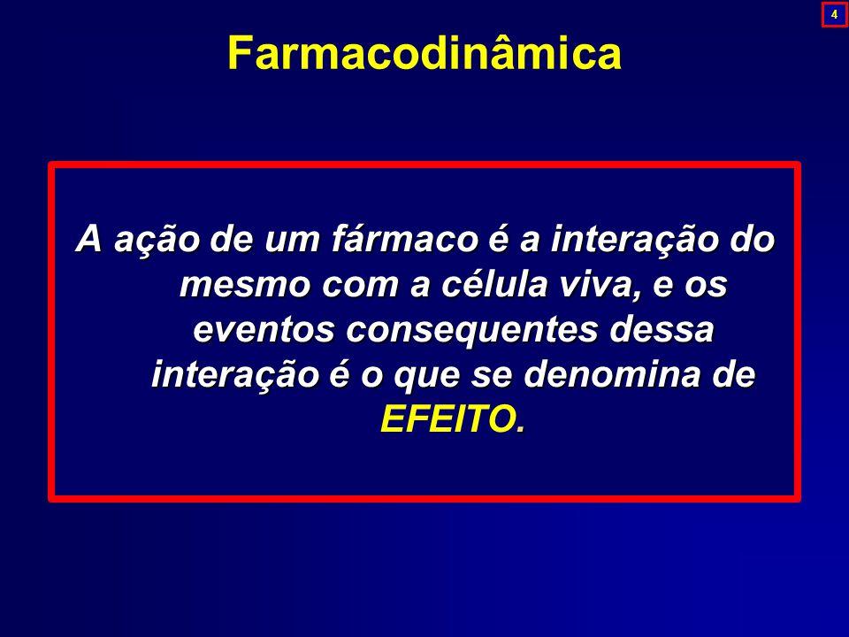 A ação de um fármaco é a interação do mesmo com a célula viva, e os eventos consequentes dessa interação é o que se denomina de. A ação de um fármaco