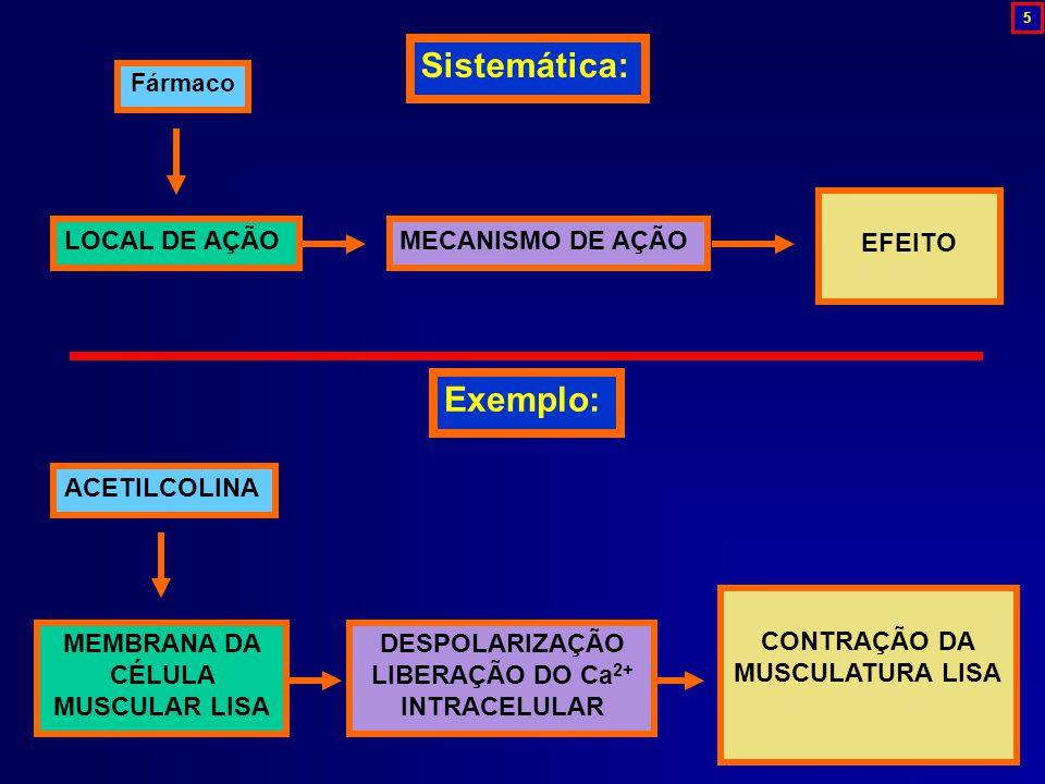 ACETILCOLINA MEMBRANA DA CÉLULA MUSCULAR LISA DESPOLARIZAÇÃO LIBERAÇÃO DO Ca 2+ INTRACELULAR CONTRAÇÃO DA MUSCULATURA LISA Exemplo: Fármaco LOCAL DE A