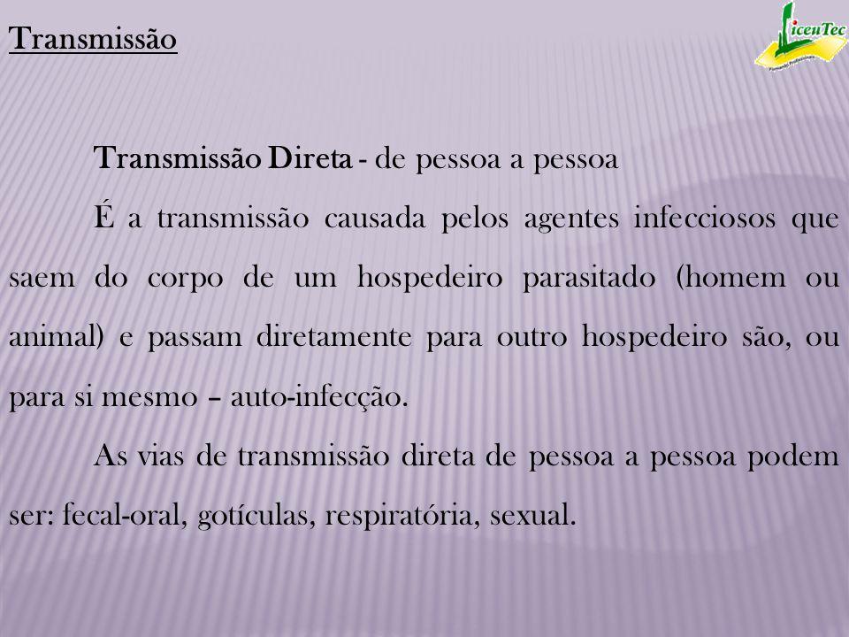 Transmissão Transmissão Direta - de pessoa a pessoa É a transmissão causada pelos agentes infecciosos que saem do corpo de um hospedeiro parasitado (h