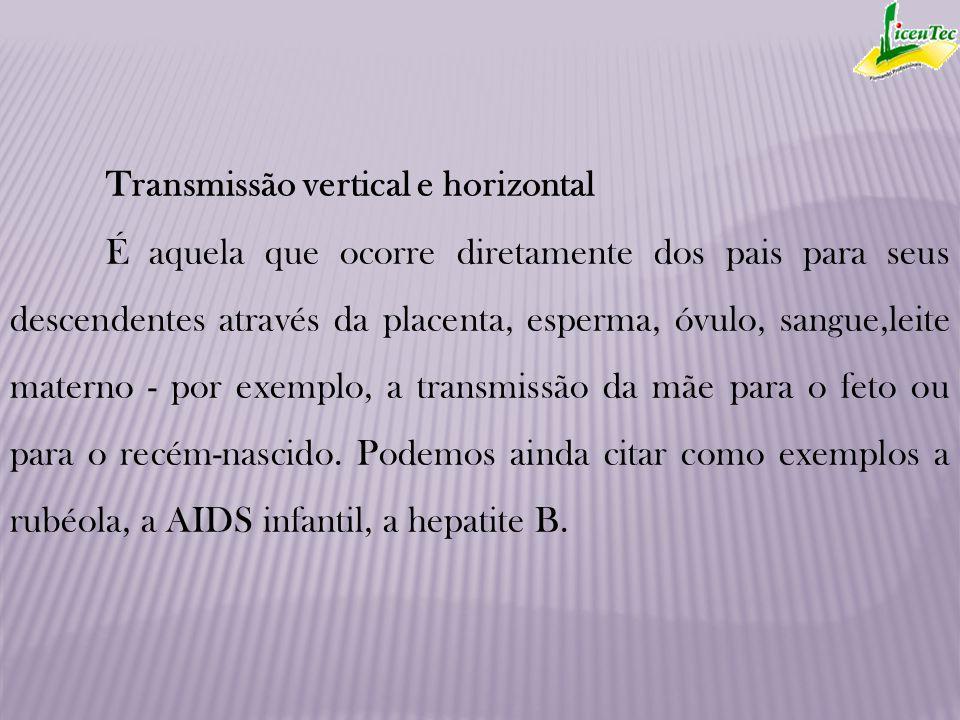 Transmissão vertical e horizontal É aquela que ocorre diretamente dos pais para seus descendentes através da placenta, esperma, óvulo, sangue,leite ma