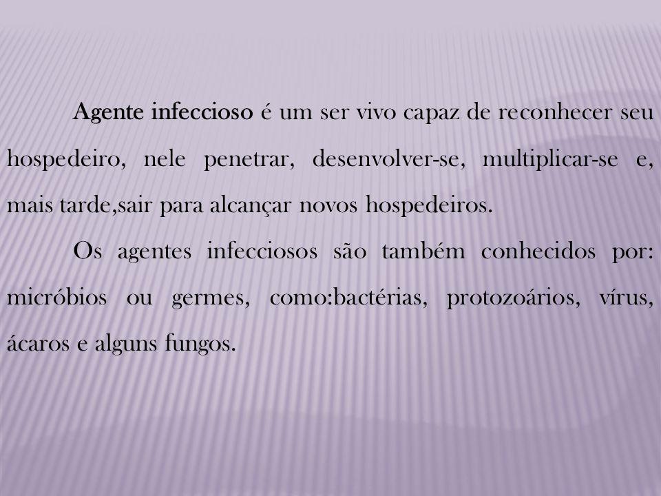 Agente infeccioso é um ser vivo capaz de reconhecer seu hospedeiro, nele penetrar, desenvolver-se, multiplicar-se e, mais tarde,sair para alcançar nov