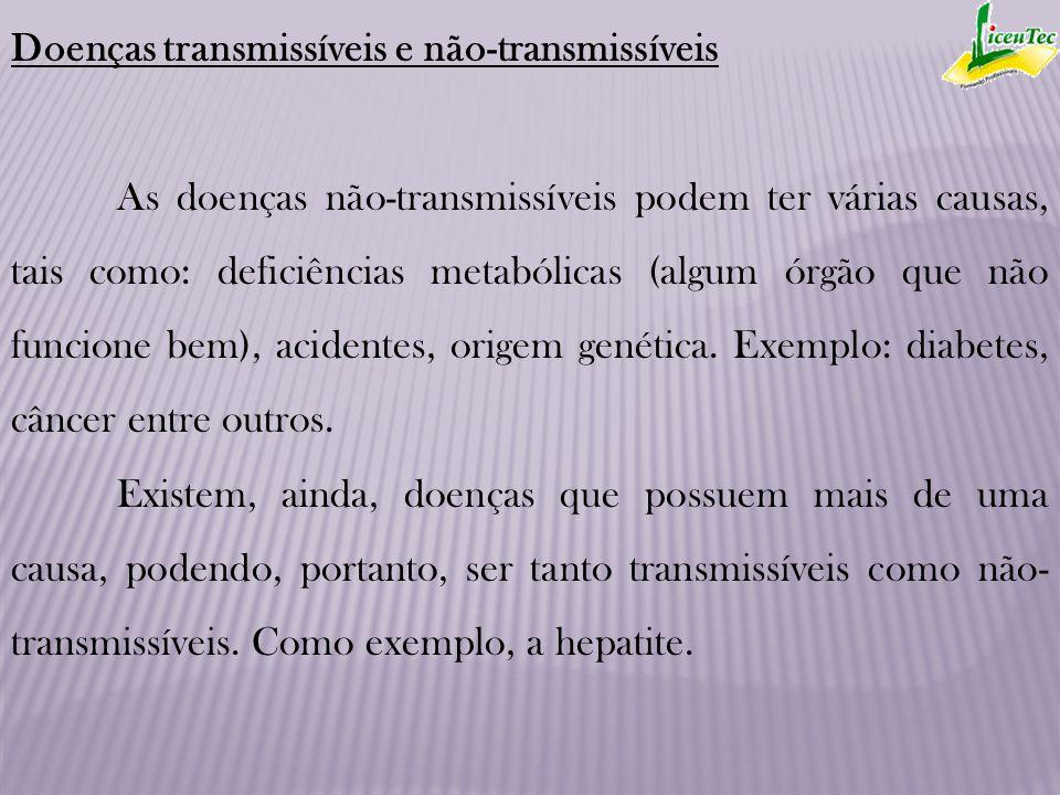 Doenças transmissíveis e não-transmissíveis As doenças não-transmissíveis podem ter várias causas, tais como: deficiências metabólicas (algum órgão qu