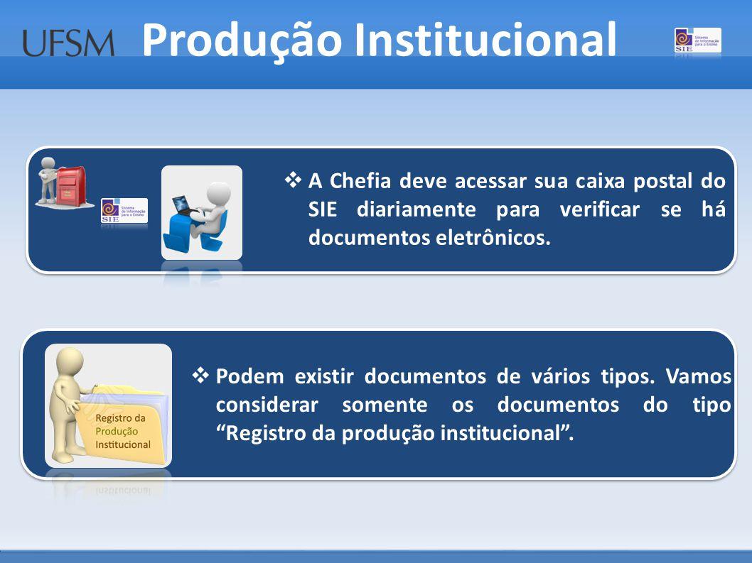 Produção Institucional  Podem existir documentos de vários tipos.