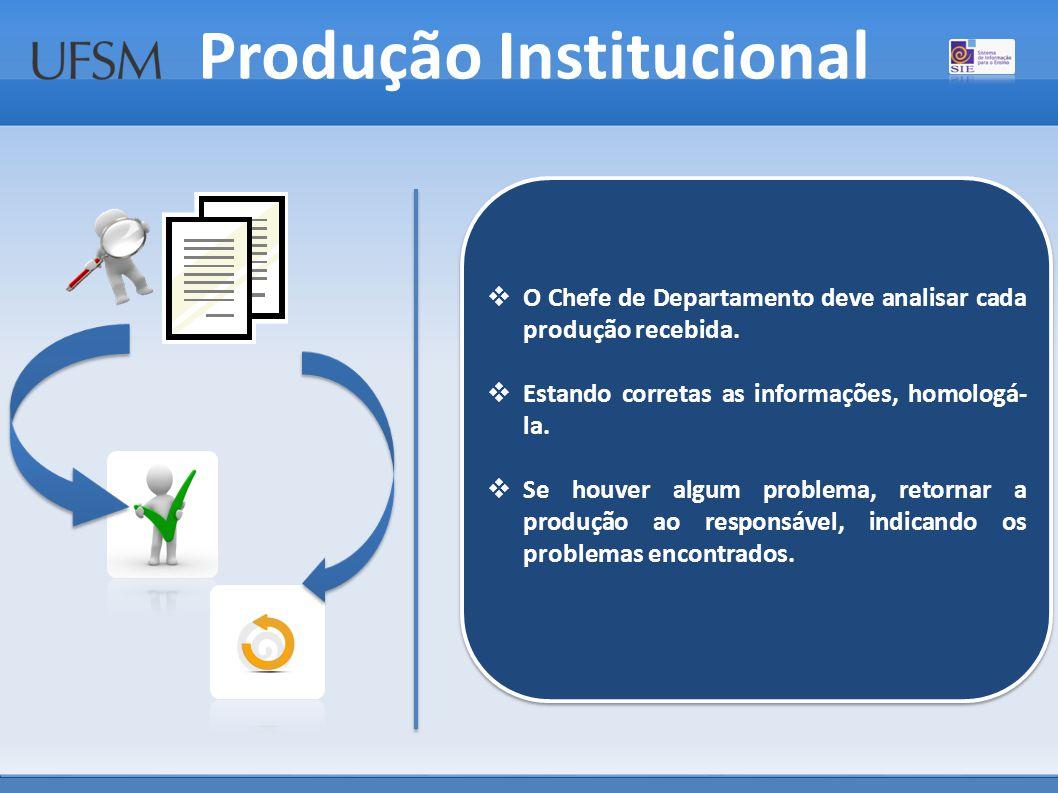 Produção Institucional  O Chefe de Departamento deve analisar cada produção recebida.