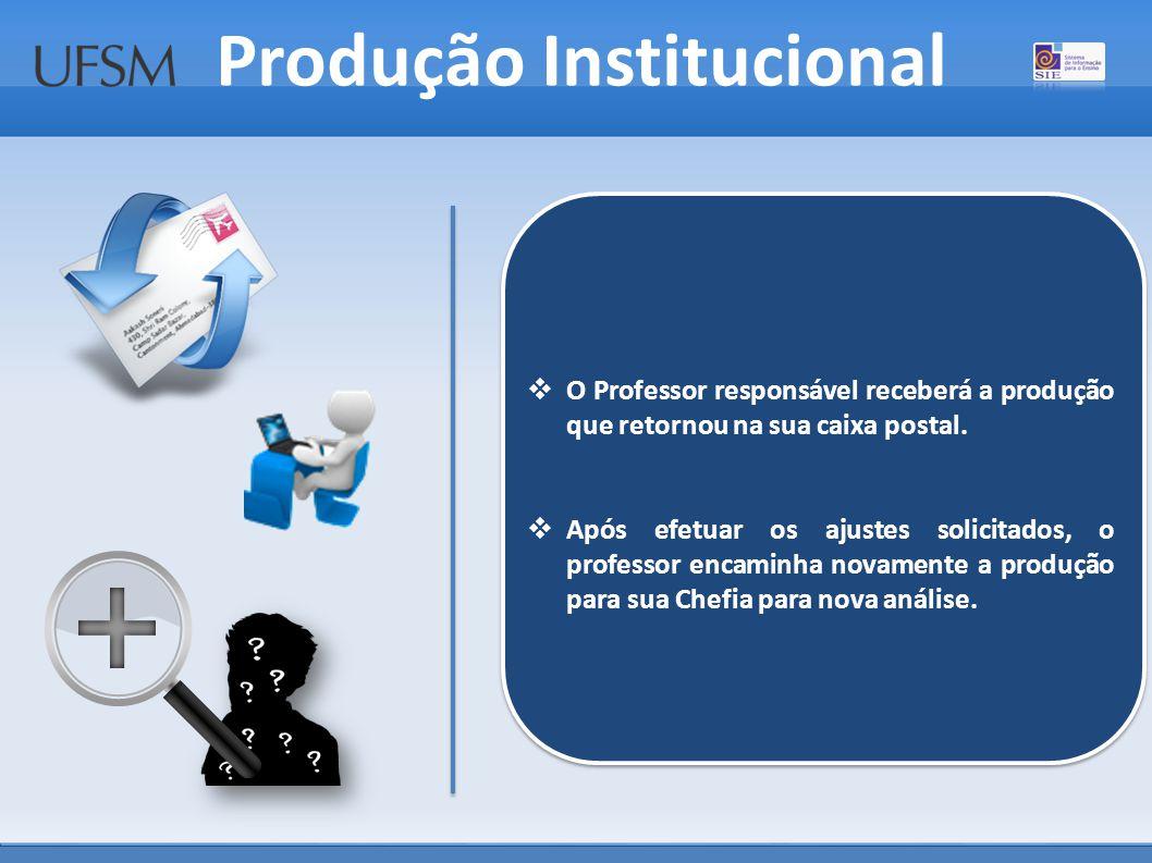 Produção Institucional  O Professor responsável receberá a produção que retornou na sua caixa postal.