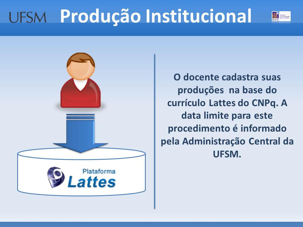 O docente cadastra suas produções na base do currículo Lattes do CNPq.