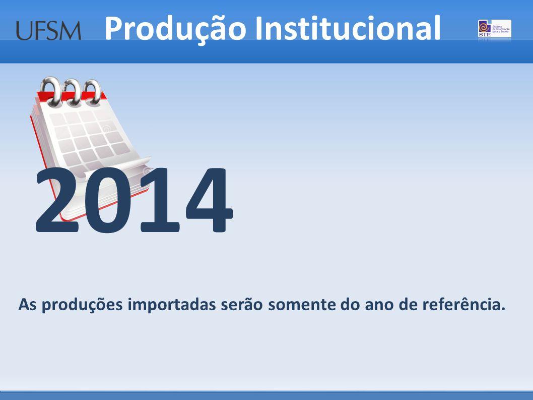 Produção Institucional As produções importadas serão somente do ano de referência. 2014
