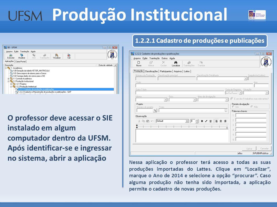 Produção Institucional Nessa aplicação o professor terá acesso a todas as suas produções importadas do Lattes.
