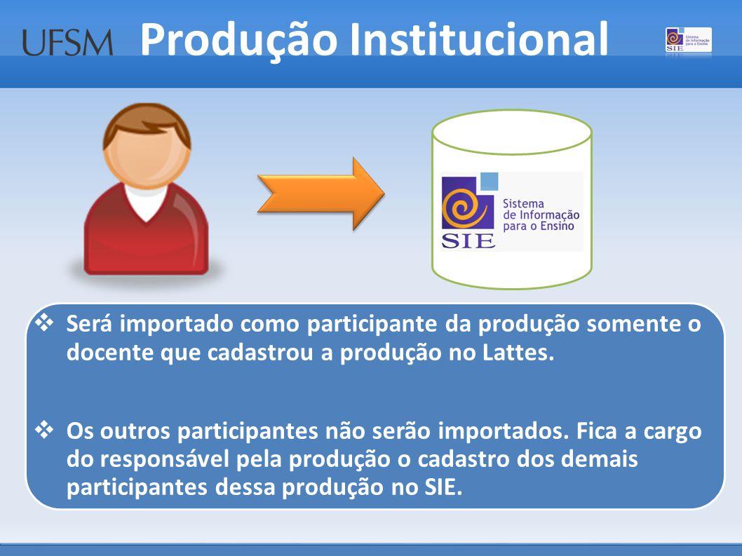 Produção Institucional  Será importado como participante da produção somente o docente que cadastrou a produção no Lattes.