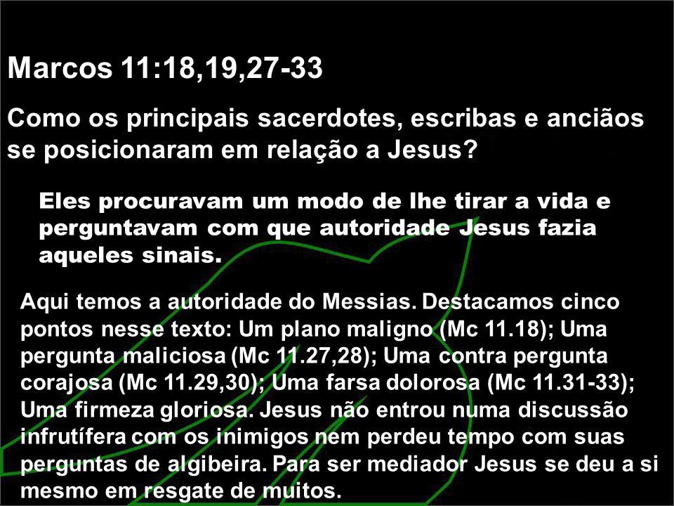 Marcos 11:18,19,27-33 Como os principais sacerdotes, escribas e anciãos se posicionaram em relação a Jesus? Eles procuravam um modo de lhe tirar a vid