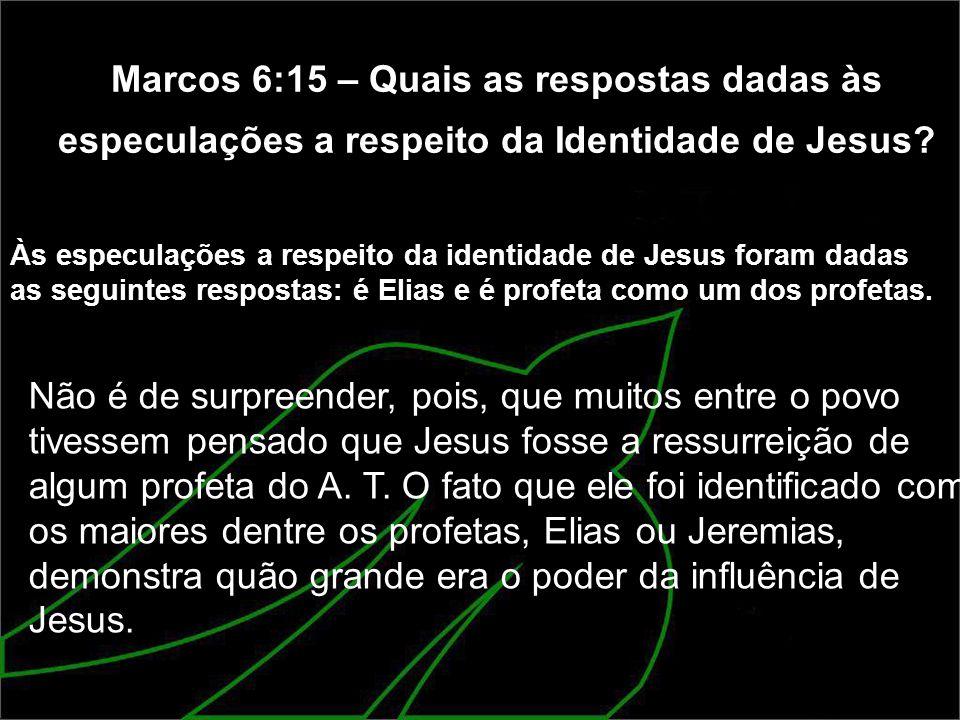 Marcos 6:15 – Quais as respostas dadas às especulações a respeito da Identidade de Jesus? Às especulações a respeito da identidade de Jesus foram dada