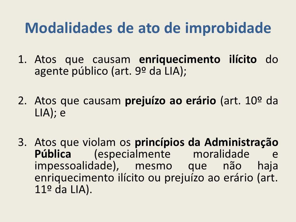 Modalidades de ato de improbidade 1.Atos que causam enriquecimento ilícito do agente público (art. 9º da LIA); 2.Atos que causam prejuízo ao erário (a